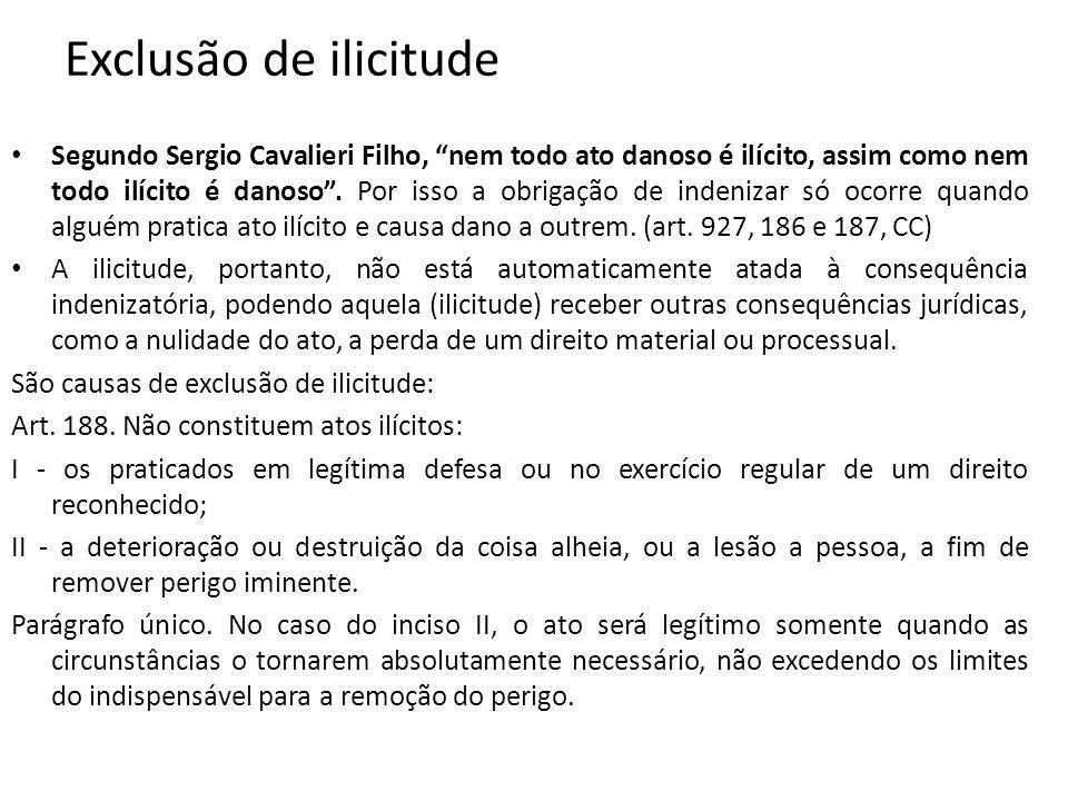 Exclusão de ilicitude Segundo Sergio Cavalieri Filho, nem todo ato danoso é ilícito, assim como nem todo ilícito é danoso. Por isso a obrigação de ind