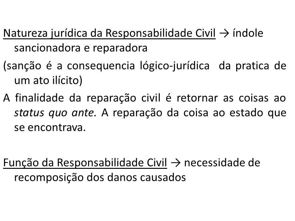 Natureza jurídica da Responsabilidade Civil índole sancionadora e reparadora (sanção é a consequencia lógico-jurídica da pratica de um ato ilícito) A