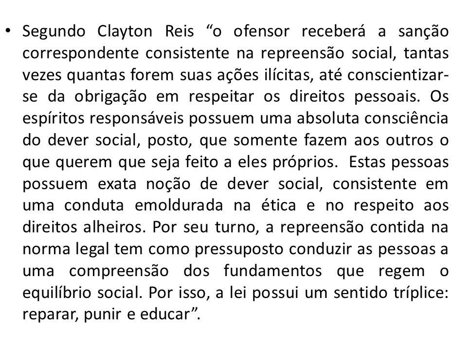 Segundo Clayton Reis o ofensor receberá a sanção correspondente consistente na repreensão social, tantas vezes quantas forem suas ações ilícitas, até