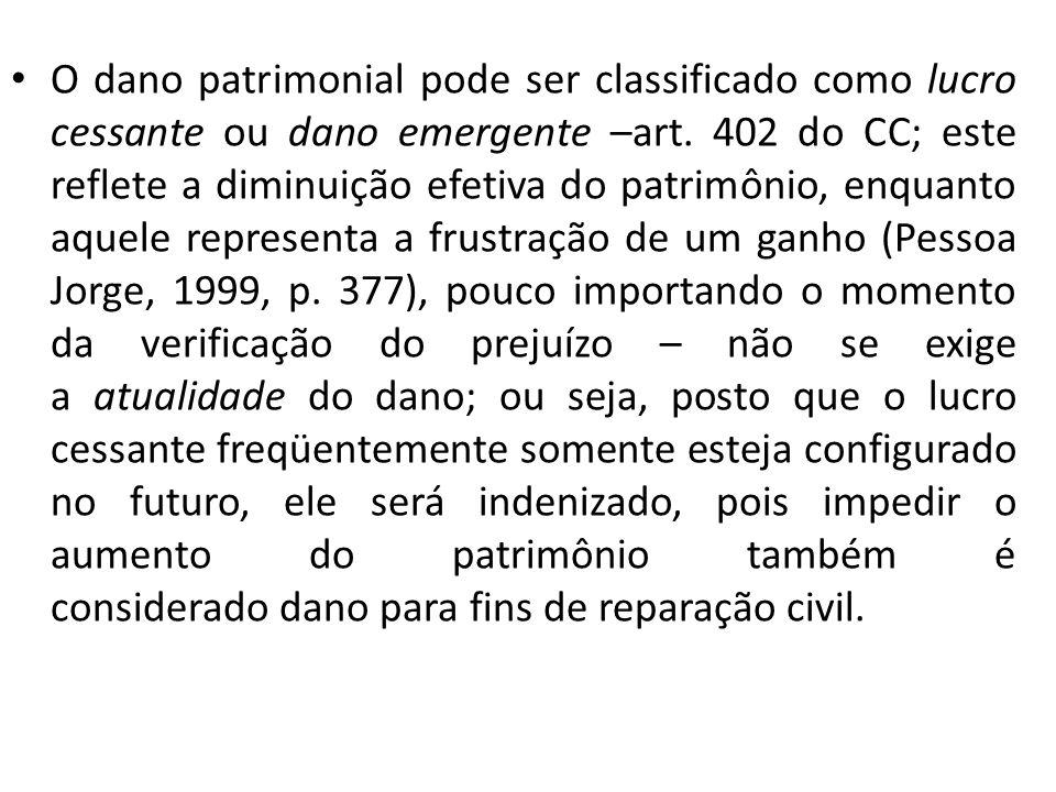 O dano patrimonial pode ser classificado como lucro cessante ou dano emergente –art. 402 do CC; este reflete a diminuição efetiva do patrimônio, enqua