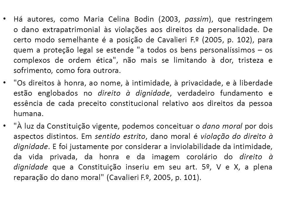Há autores, como Maria Celina Bodin (2003, passim), que restringem o dano extrapatrimonial às violações aos direitos da personalidade. De certo modo s