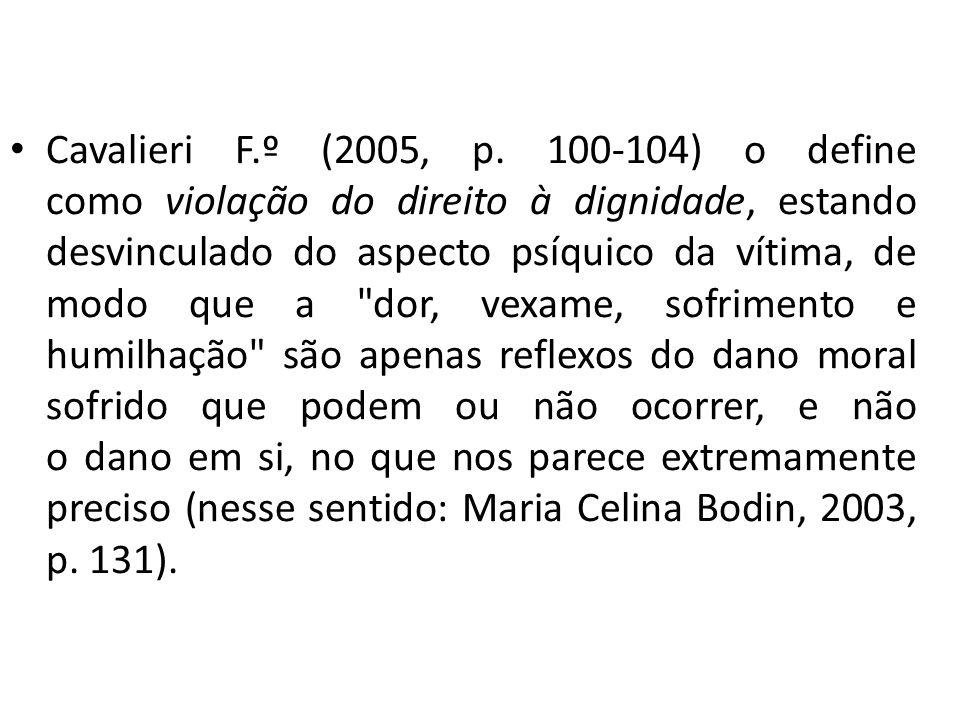Cavalieri F.º (2005, p. 100-104) o define como violação do direito à dignidade, estando desvinculado do aspecto psíquico da vítima, de modo que a