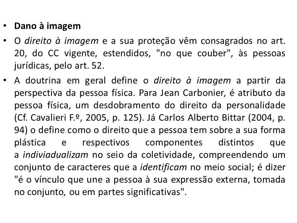 Dano à imagem O direito à imagem e a sua proteção vêm consagrados no art. 20, do CC vigente, estendidos,