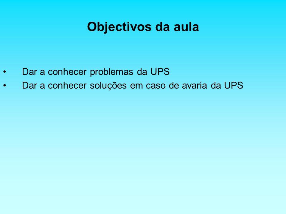 Objectivos da aula Dar a conhecer problemas da UPS Dar a conhecer soluções em caso de avaria da UPS
