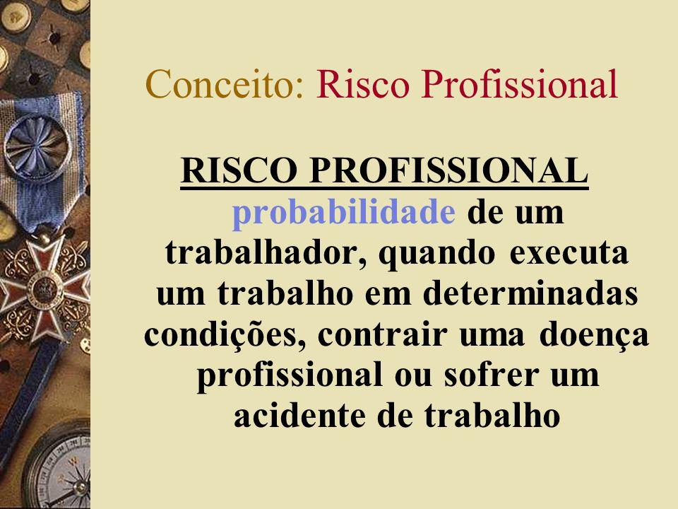 Conceito: Risco Profissional RISCO PROFISSIONAL probabilidade de um trabalhador, quando executa um trabalho em determinadas condições, contrair uma doença profissional ou sofrer um acidente de trabalho