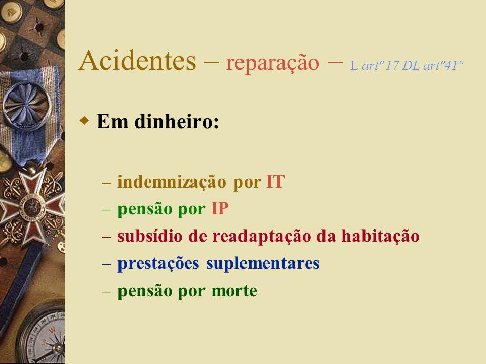 Acidentes – reparação – L artº10º DL artº 23º Em espécie: – assistência médica, cirúrgica, hospitalar e farmacêutica – reabilitação funcional – hosped