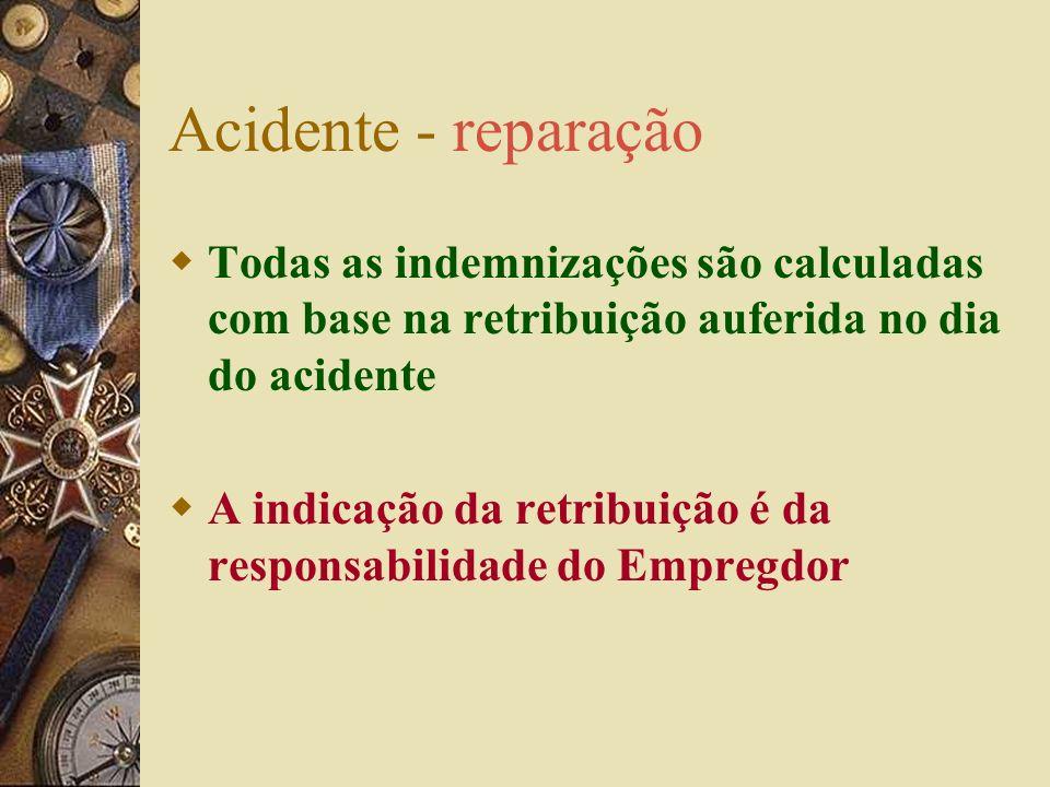 Acidentes – reparação – L artº 17 DL artº41º Em dinheiro: – indemnização por IT – pensão por IP – subsídio de readaptação da habitação – prestações su