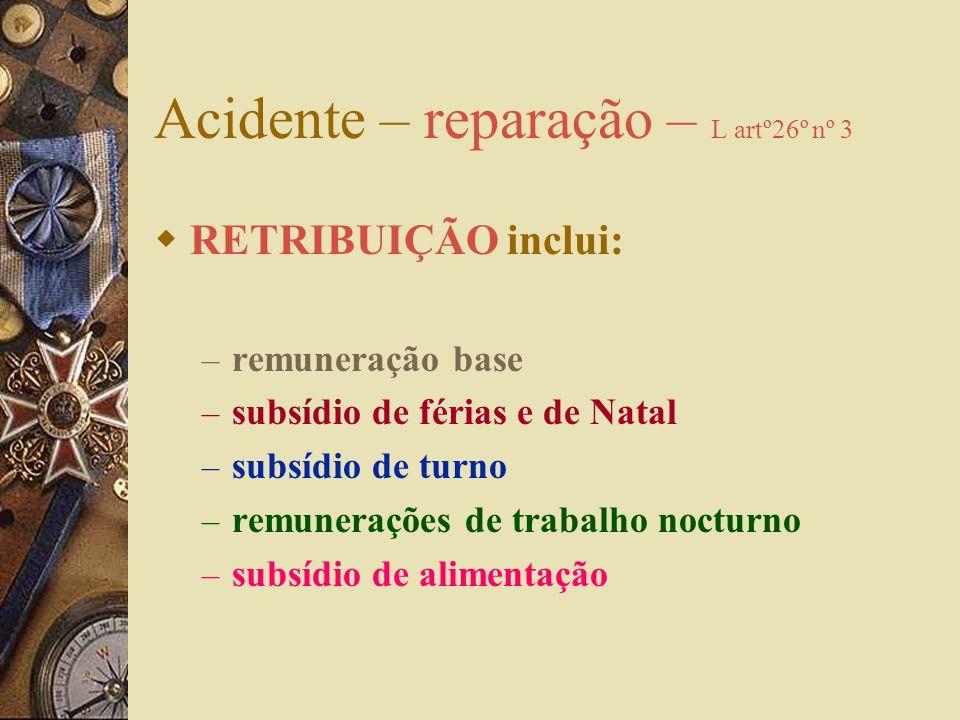 Acidente - reparação Todas as indemnizações são calculadas com base na retribuição auferida no dia do acidente A indicação da retribuição é da respons