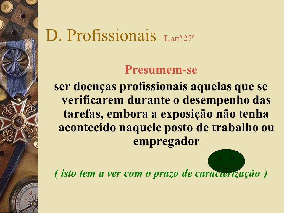 Doenças profissionais – DL artº 2º as constantes da lista de doenças profissionais e as lesões, perturbações funcionais ou doenças nela não incluídas,