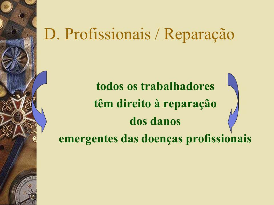 D. Profissionais – incapacidades – DL artº4º Temporárias nParciais nAbsolutas n> 18 meses consideram-se permanentes Permanentes nParciais nAbsolutas p
