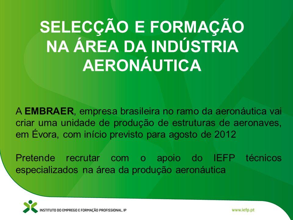 SELECÇÃO E FORMAÇÃO NA ÁREA DA INDÚSTRIA AERONÁUTICA A EMBRAER, empresa brasileira no ramo da aeronáutica vai criar uma unidade de produção de estrutu
