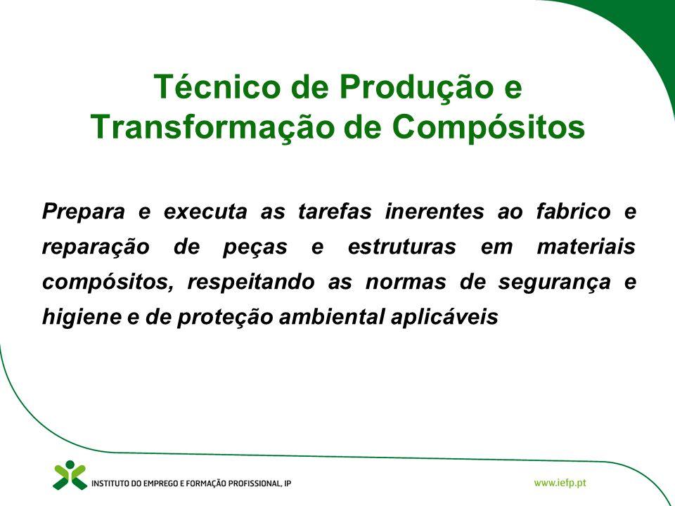 Técnico de Produção e Transformação de Compósitos Prepara e executa as tarefas inerentes ao fabrico e reparação de peças e estruturas em materiais com