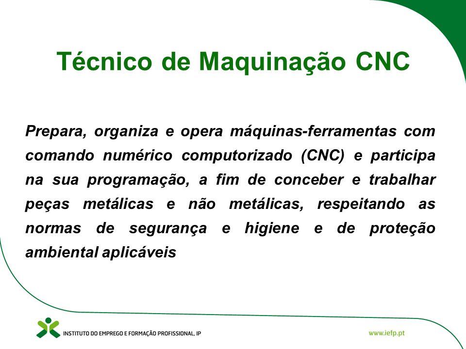Técnico de Maquinação CNC Prepara, organiza e opera máquinas-ferramentas com comando numérico computorizado (CNC) e participa na sua programação, a fi