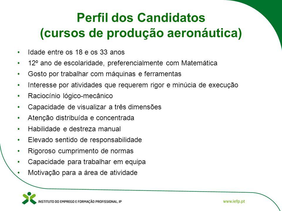 Perfil dos Candidatos (cursos de produção aeronáutica) Idade entre os 18 e os 33 anos 12º ano de escolaridade, preferencialmente com Matemática Gosto