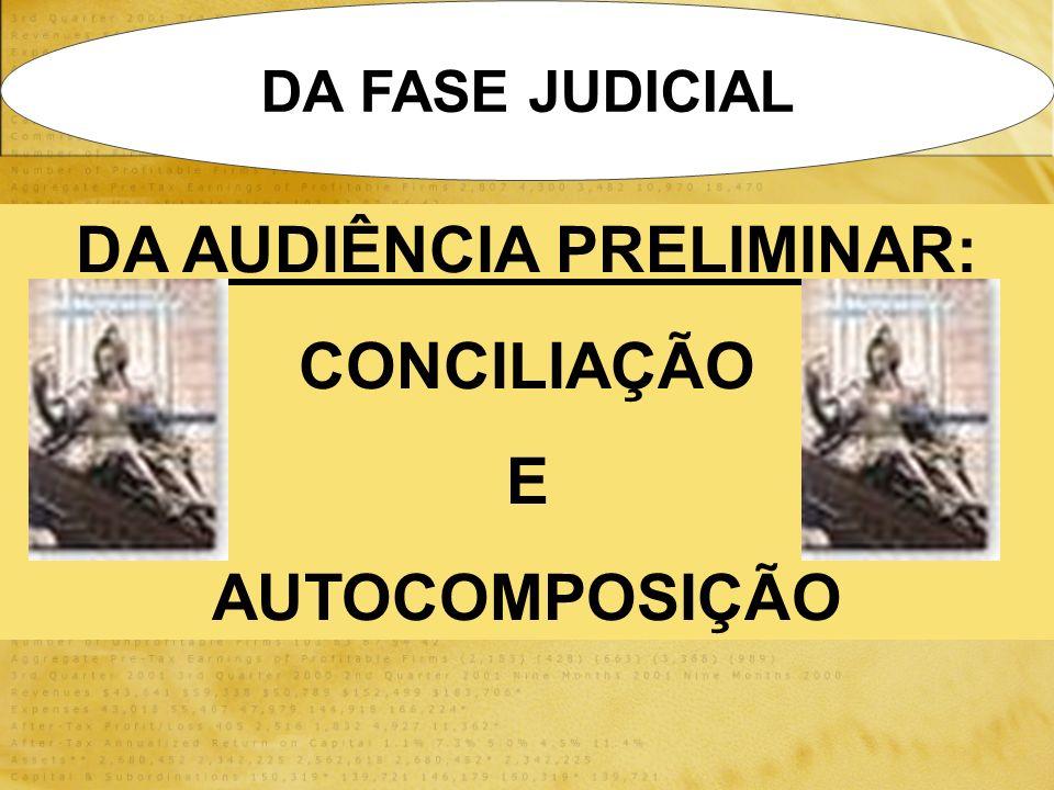 DA FASE JUDICIAL DA AUDIÊNCIA PRELIMINAR: CONCILIAÇÃO E AUTOCOMPOSIÇÃO