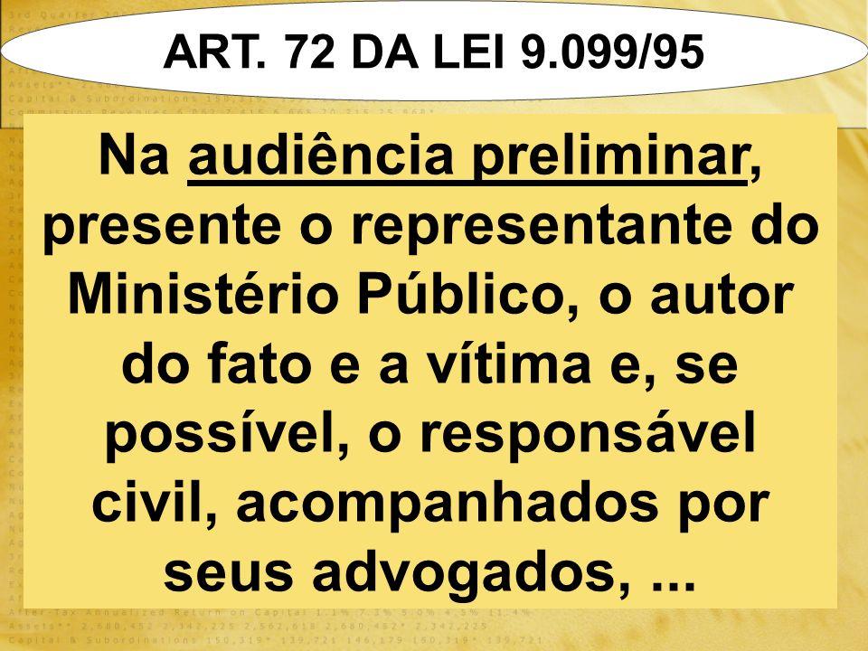 ART. 72 DA LEI 9.099/95 Na audiência preliminar, presente o representante do Ministério Público, o autor do fato e a vítima e, se possível, o responsá