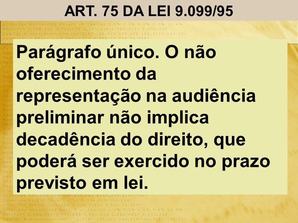 ART. 75 DA LEI 9.099/95 Parágrafo único. O não oferecimento da representação na audiência preliminar não implica decadência do direito, que poderá ser