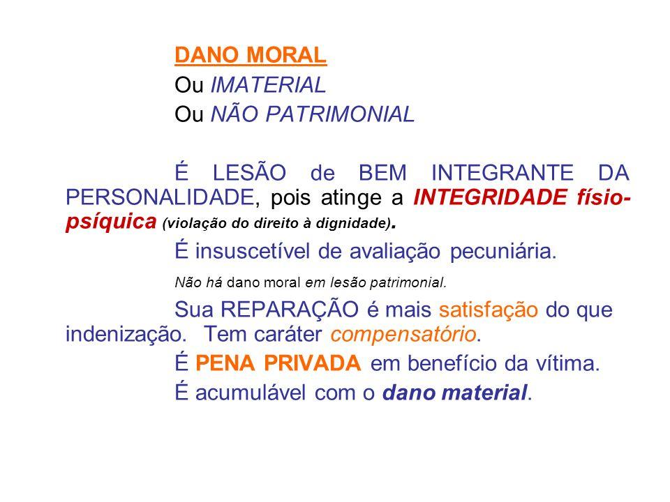 DANO MORAL Ou IMATERIAL Ou NÃO PATRIMONIAL É LESÃO de BEM INTEGRANTE DA PERSONALIDADE, pois atinge a INTEGRIDADE físio- psíquica (violação do direito