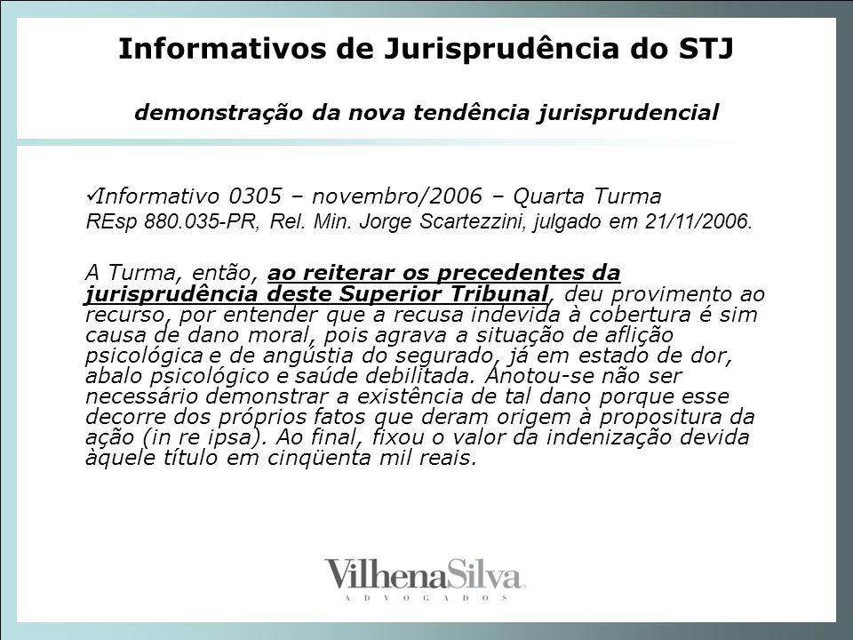 Informativos de Jurisprudência do STJ demonstração da nova tendência jurisprudencial Informativo 0305 – novembro/2006 – Quarta Turma REsp 880.035-PR,