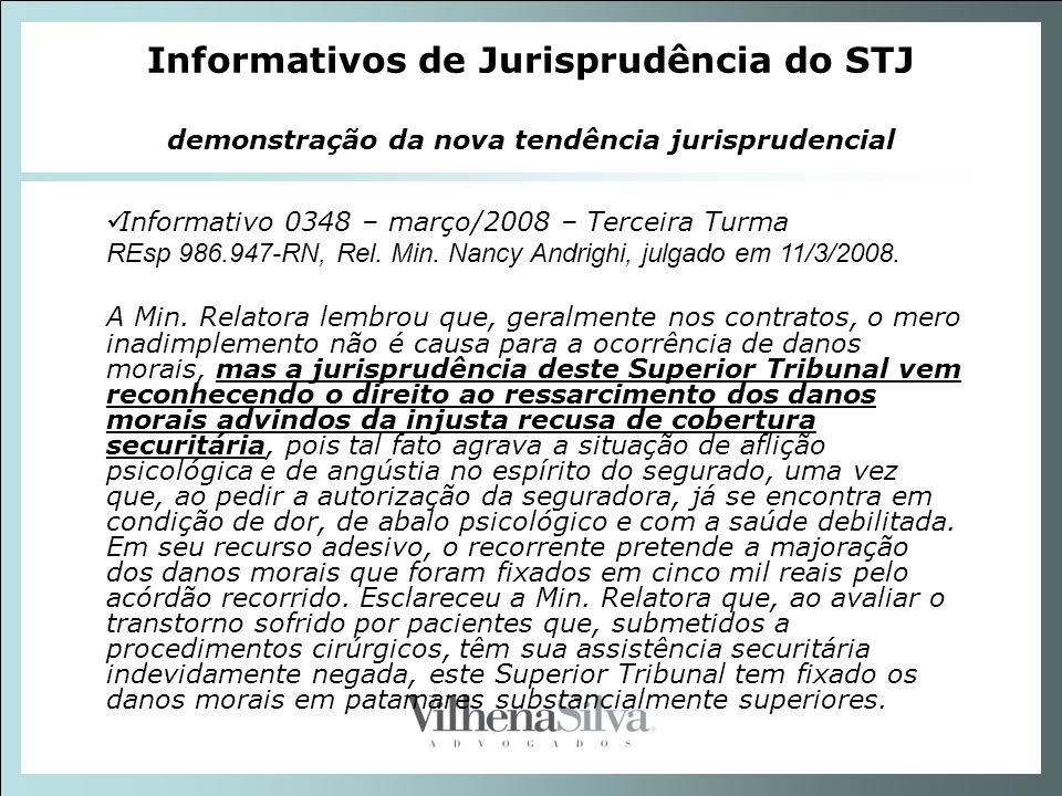 Informativos de Jurisprudência do STJ demonstração da nova tendência jurisprudencial Informativo 0348 – março/2008 – Terceira Turma REsp 986.947-RN, R