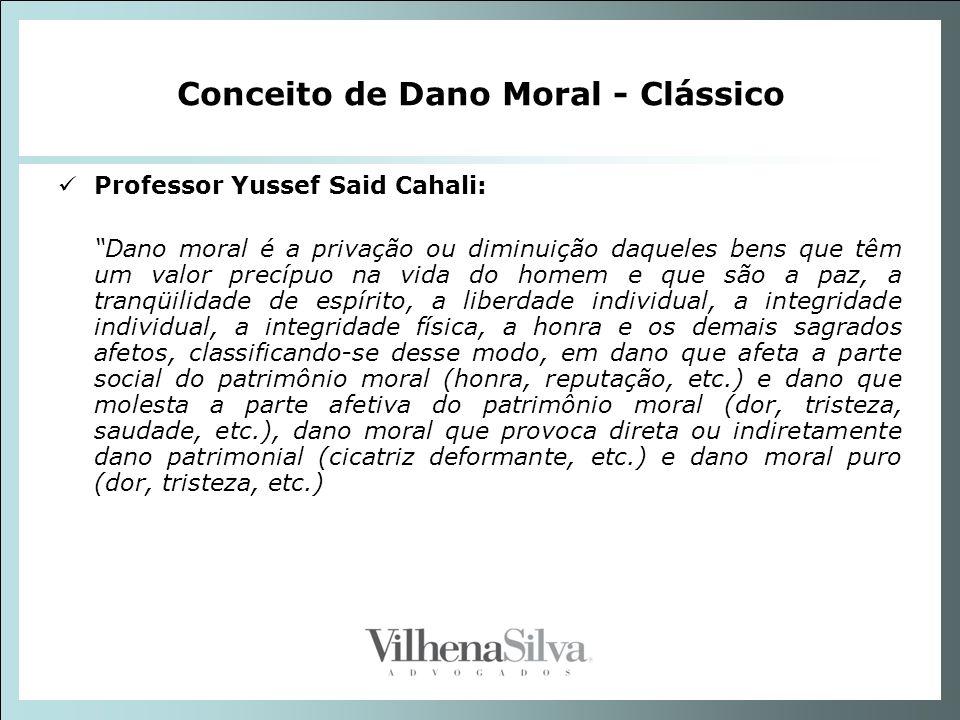 Conceito de Dano Moral - Clássico Professor Yussef Said Cahali: Dano moral é a privação ou diminuição daqueles bens que têm um valor precípuo na vida