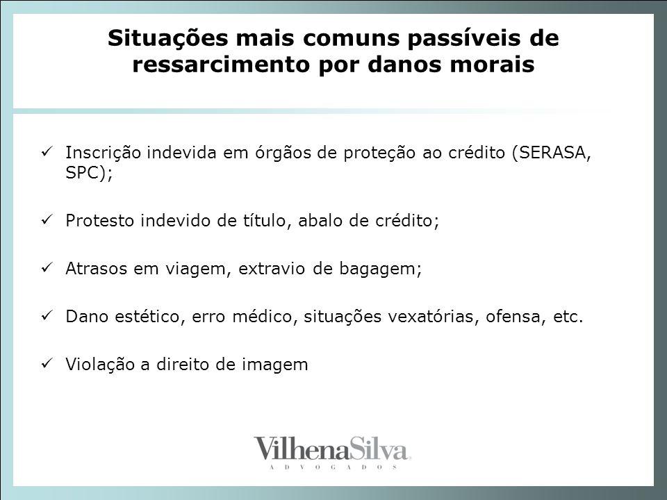 Situações mais comuns passíveis de ressarcimento por danos morais Inscrição indevida em órgãos de proteção ao crédito (SERASA, SPC); Protesto indevido