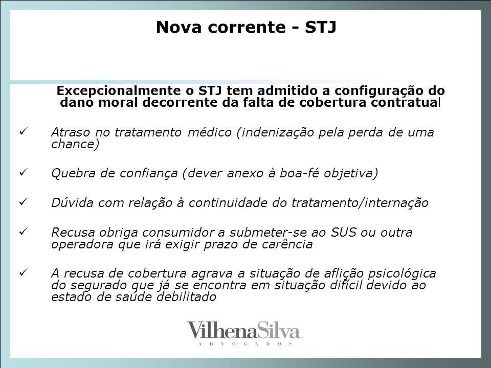 Nova corrente - STJ Excepcionalmente o STJ tem admitido a configuração do dano moral decorrente da falta de cobertura contratual Atraso no tratamento
