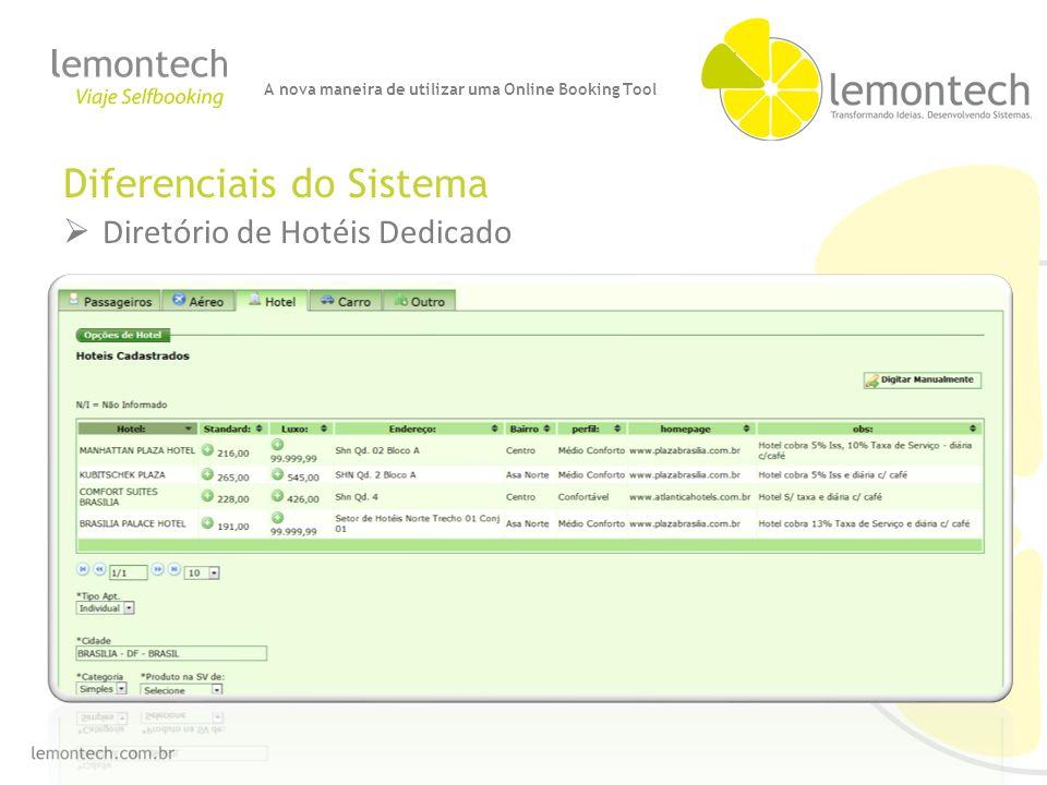 Diferenciais do Sistema Diretório de Hotéis Dedicado A nova maneira de utilizar uma Online Booking Tool