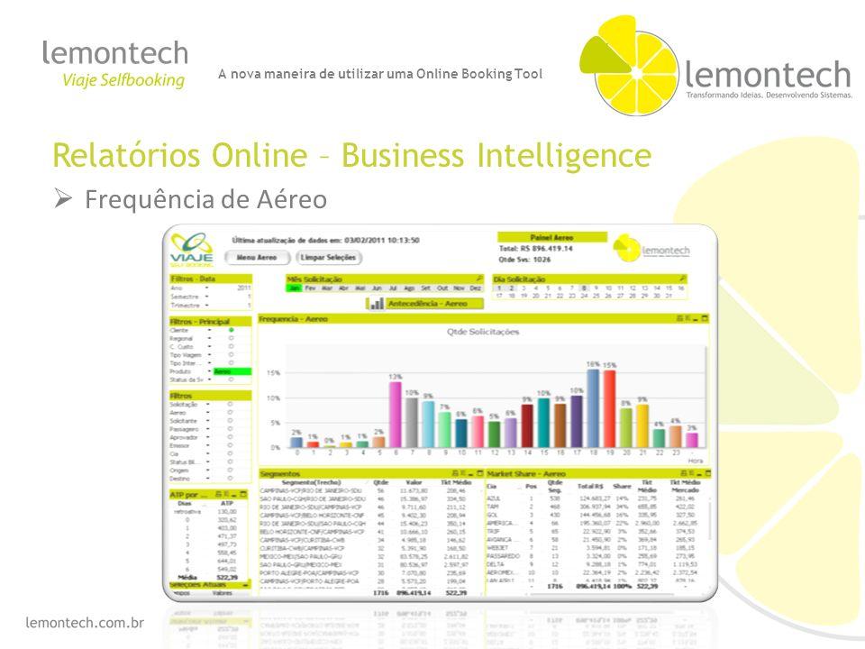 Relatórios Online – Business Intelligence Frequência de Aéreo A nova maneira de utilizar uma Online Booking Tool