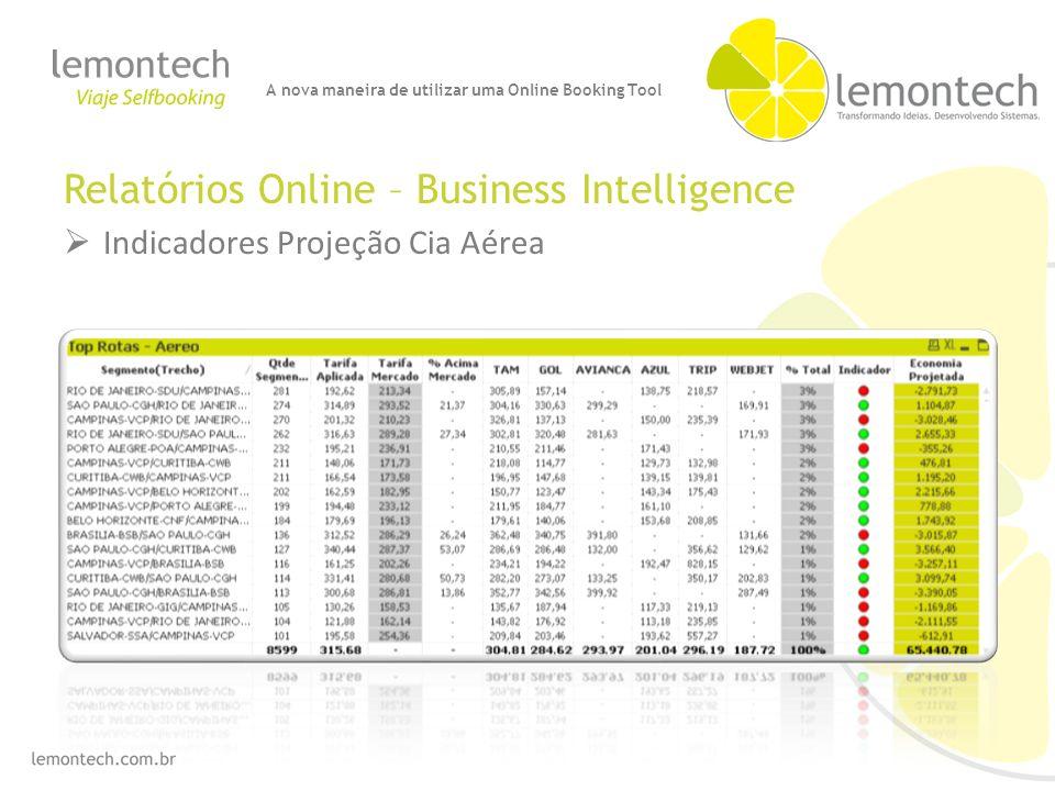Relatórios Online – Business Intelligence Indicadores Projeção Cia Aérea A nova maneira de utilizar uma Online Booking Tool