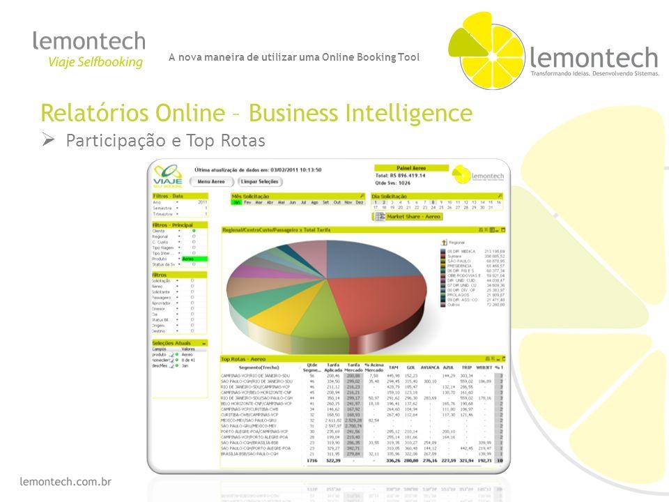 Relatórios Online – Business Intelligence Participação e Top Rotas A nova maneira de utilizar uma Online Booking Tool