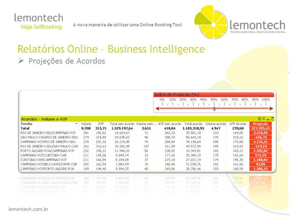 Relatórios Online – Business Intelligence Projeções de Acordos A nova maneira de utilizar uma Online Booking Tool