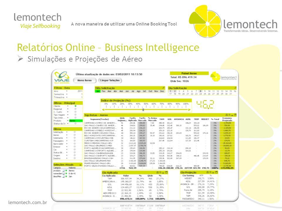 Relatórios Online – Business Intelligence Simulações e Projeções de Aéreo A nova maneira de utilizar uma Online Booking Tool