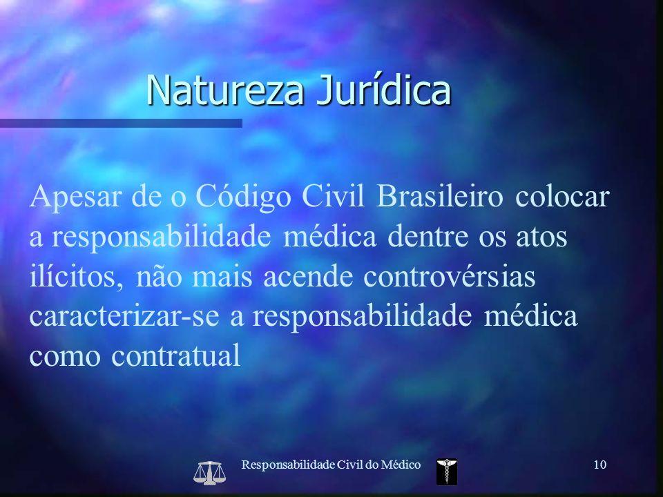 Responsabilidade Civil do Médico10 Apesar de o Código Civil Brasileiro colocar a responsabilidade médica dentre os atos ilícitos, não mais acende cont