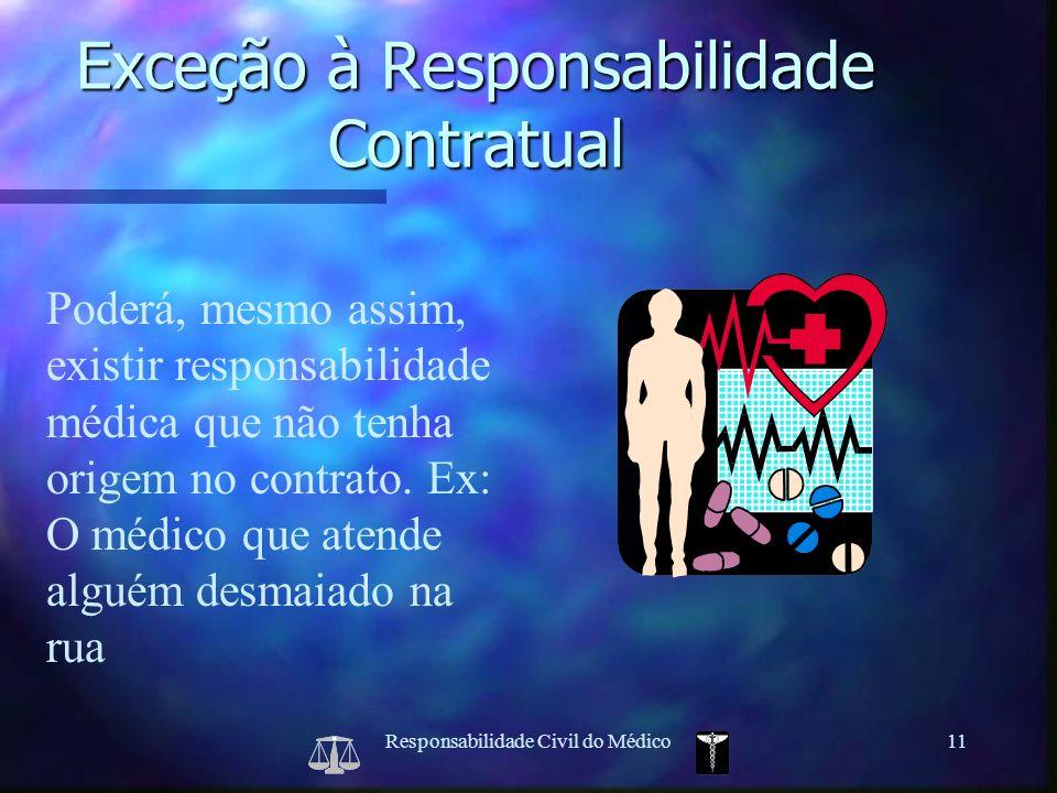 Responsabilidade Civil do Médico11 Poderá, mesmo assim, existir responsabilidade médica que não tenha origem no contrato. Ex: O médico que atende algu