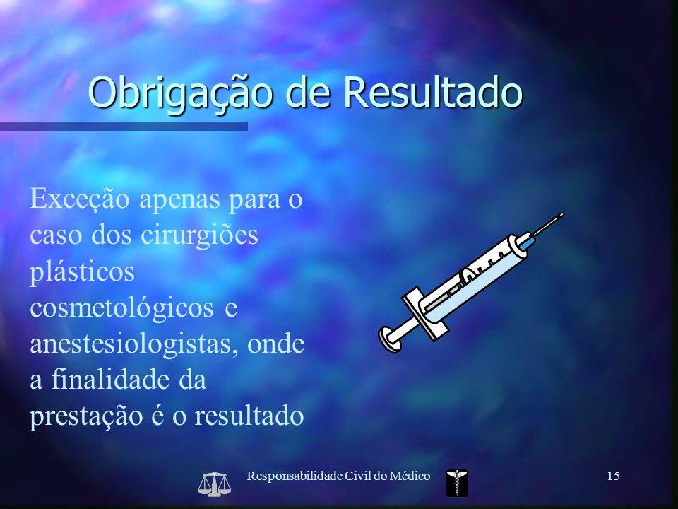 Responsabilidade Civil do Médico15 Exceção apenas para o caso dos cirurgiões plásticos cosmetológicos e anestesiologistas, onde a finalidade da presta
