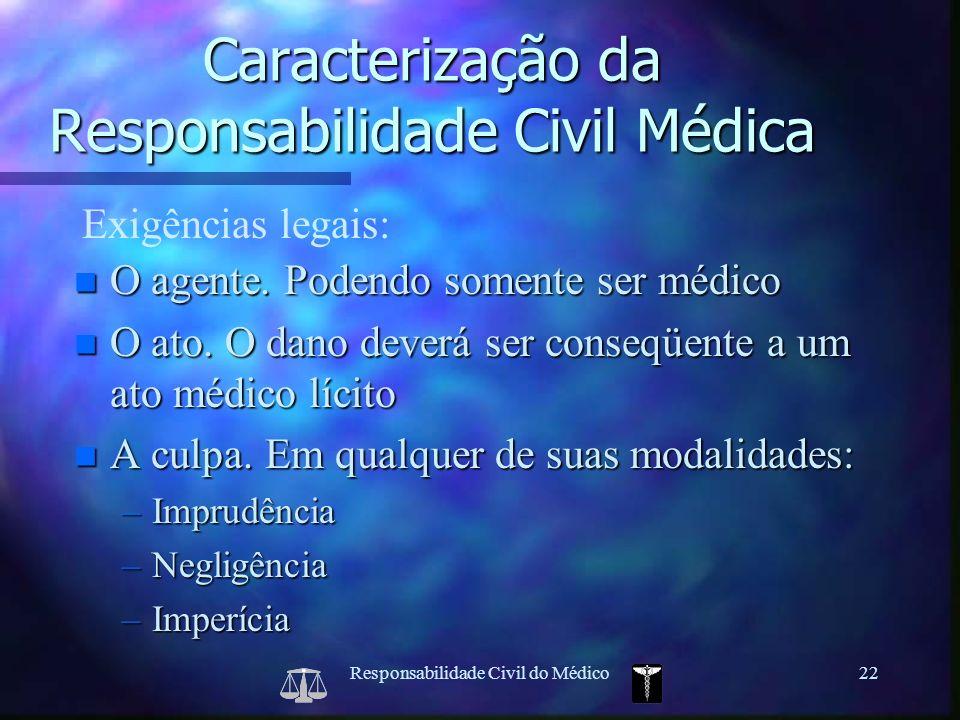 Responsabilidade Civil do Médico22 Exigências legais: Caracterização da Responsabilidade Civil Médica n O agente. Podendo somente ser médico n O ato.