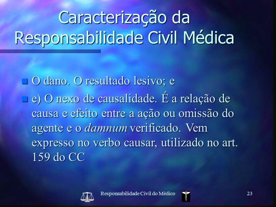 Responsabilidade Civil do Médico23 Caracterização da Responsabilidade Civil Médica n O dano. O resultado lesivo; e n e) O nexo de causalidade. É a rel
