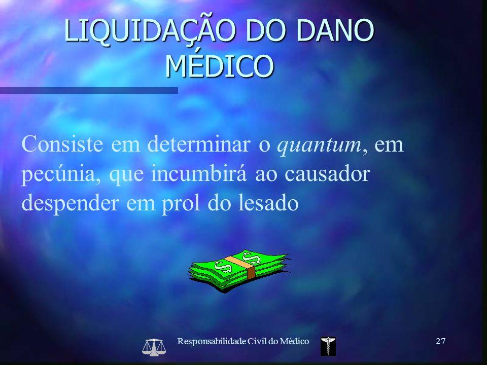 Responsabilidade Civil do Médico27 Consiste em determinar o quantum, em pecúnia, que incumbirá ao causador despender em prol do lesado LIQUIDAÇÃO DO D