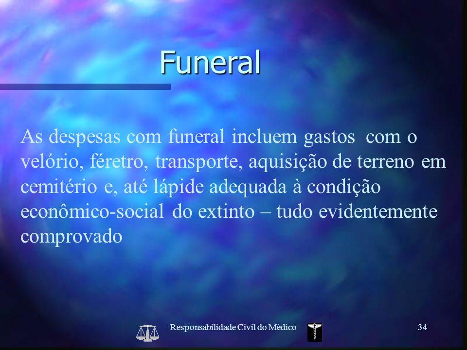 Responsabilidade Civil do Médico34 As despesas com funeral incluem gastos com o velório, féretro, transporte, aquisição de terreno em cemitério e, até