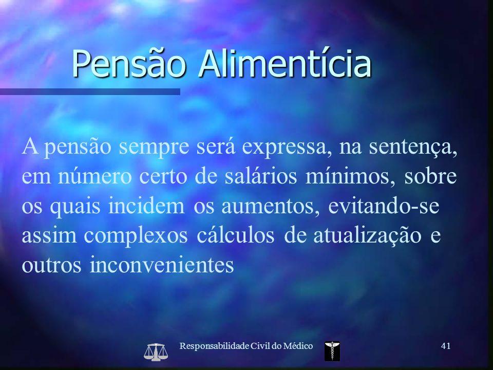 Responsabilidade Civil do Médico41 A pensão sempre será expressa, na sentença, em número certo de salários mínimos, sobre os quais incidem os aumentos