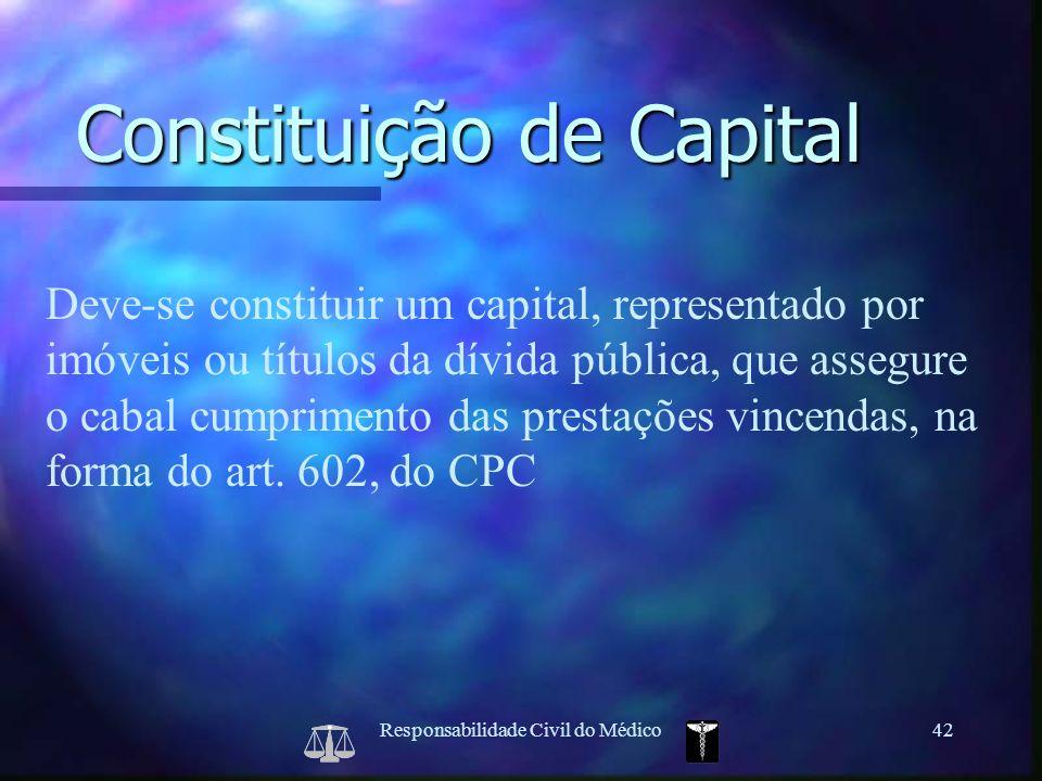 Responsabilidade Civil do Médico42 Deve-se constituir um capital, representado por imóveis ou títulos da dívida pública, que assegure o cabal cumprime
