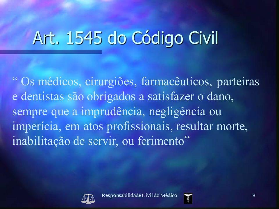 Responsabilidade Civil do Médico9 Os médicos, cirurgiões, farmacêuticos, parteiras e dentistas são obrigados a satisfazer o dano, sempre que a imprudê