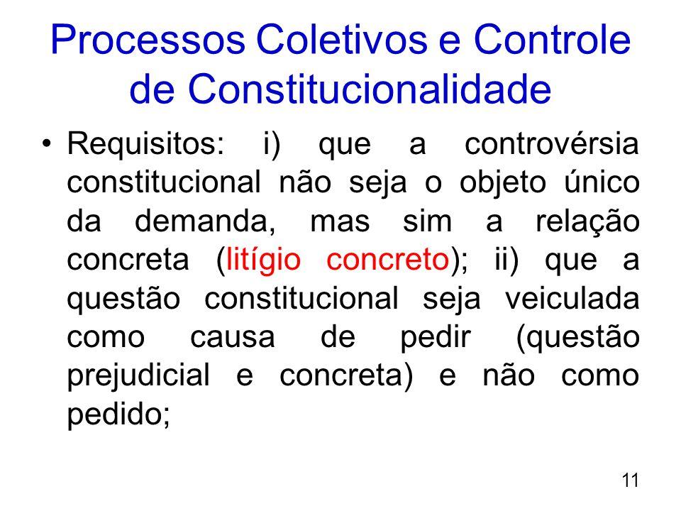 Processos Coletivos e Controle de Constitucionalidade Requisitos: i) que a controvérsia constitucional não seja o objeto único da demanda, mas sim a r