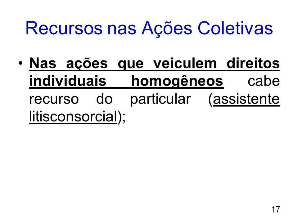 Recursos nas Ações Coletivas Nas ações que veiculem direitos individuais homogêneos cabe recurso do particular (assistente litisconsorcial); 17