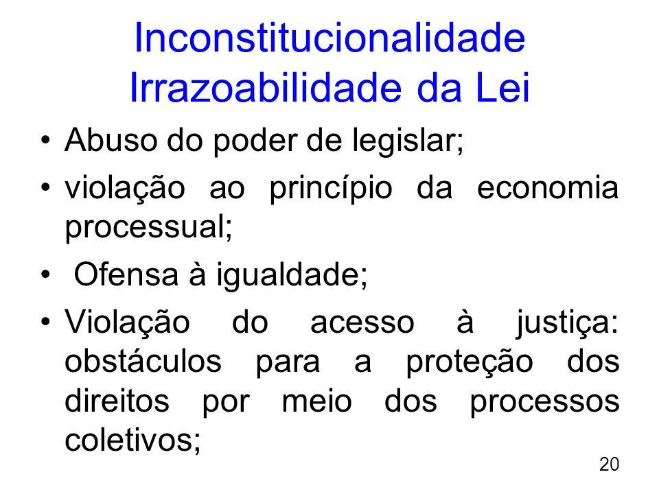 Inconstitucionalidade Irrazoabilidade da Lei Abuso do poder de legislar; violação ao princípio da economia processual; Ofensa à igualdade; Violação do