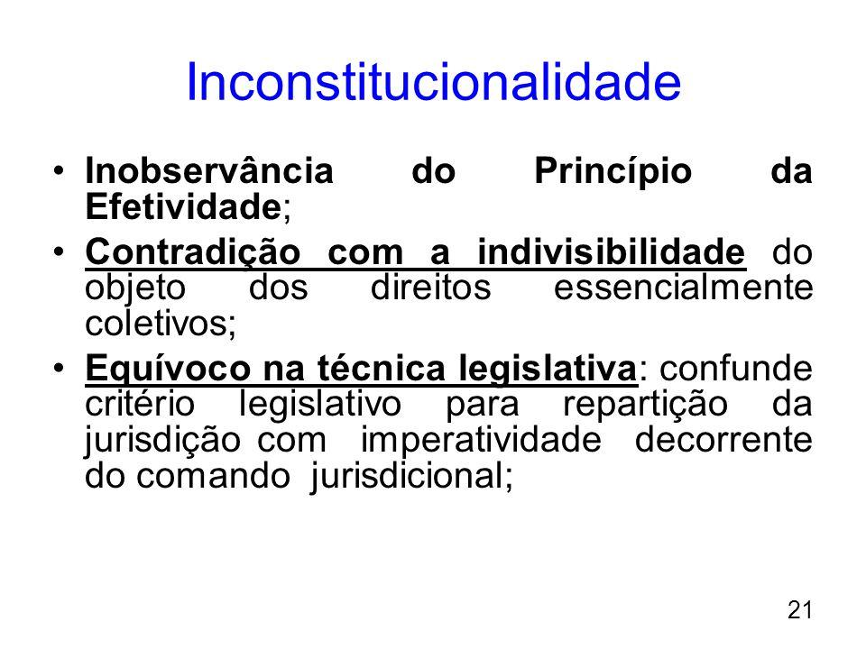 Inconstitucionalidade Inobservância do Princípio da Efetividade; Contradição com a indivisibilidade do objeto dos direitos essencialmente coletivos; E
