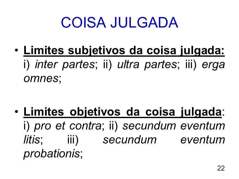 COISA JULGADA Limites subjetivos da coisa julgada: i) inter partes; ii) ultra partes; iii) erga omnes; Limites objetivos da coisa julgada: i) pro et c