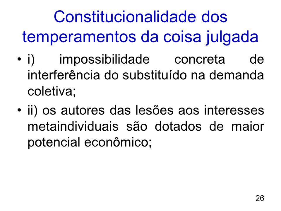Constitucionalidade dos temperamentos da coisa julgada i) impossibilidade concreta de interferência do substituído na demanda coletiva; ii) os autores