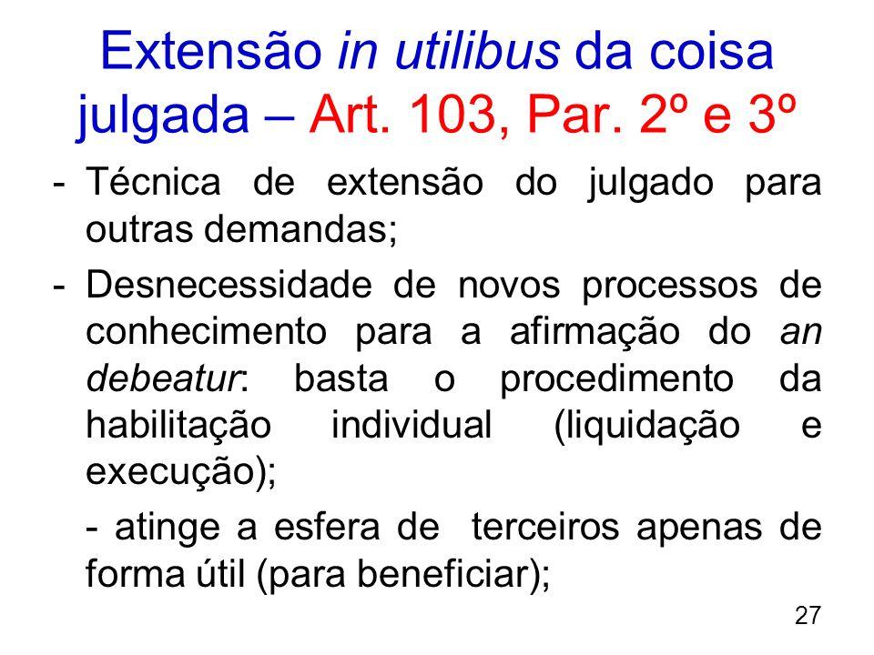 Extensão in utilibus da coisa julgada – Art. 103, Par. 2º e 3º -Técnica de extensão do julgado para outras demandas; -Desnecessidade de novos processo